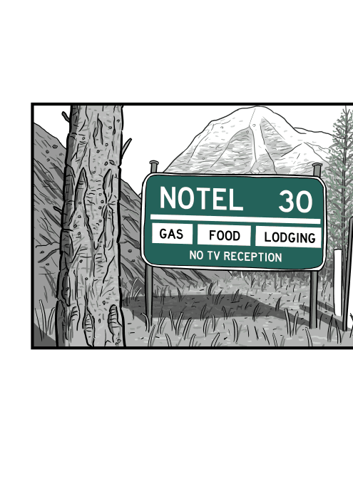 Roadside sign for Notel, Canada: the town without television in British Columbia from 1970s. 70s road sign of Rocky Mountains forest next to highway.