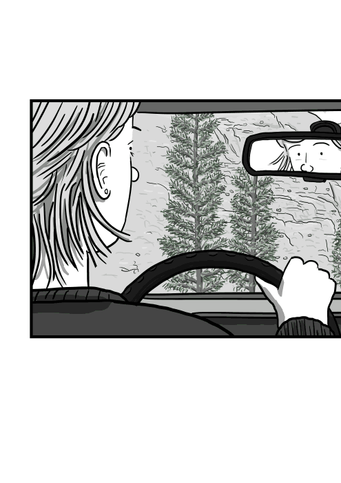 Rear view of cartoon woman driving a car viewed behind ear, over shoulder looking into center rearview mirror.