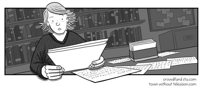 Cartoon drawing of a young woman reading a paper letter with surprise and attention. Black and white illustration of a professional woman in an office with bookshelves in background.
