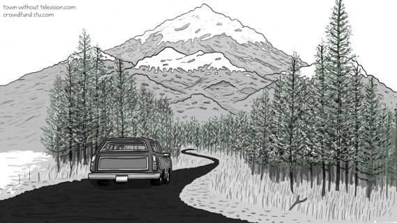 Drawing of a station wagon driving away down a winding mountain road through a forest.