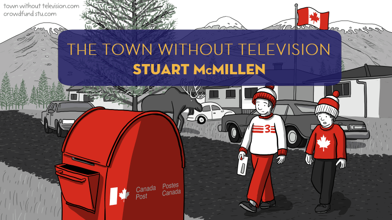The Town Without Television illustration with two boys crossing street talking to each other.