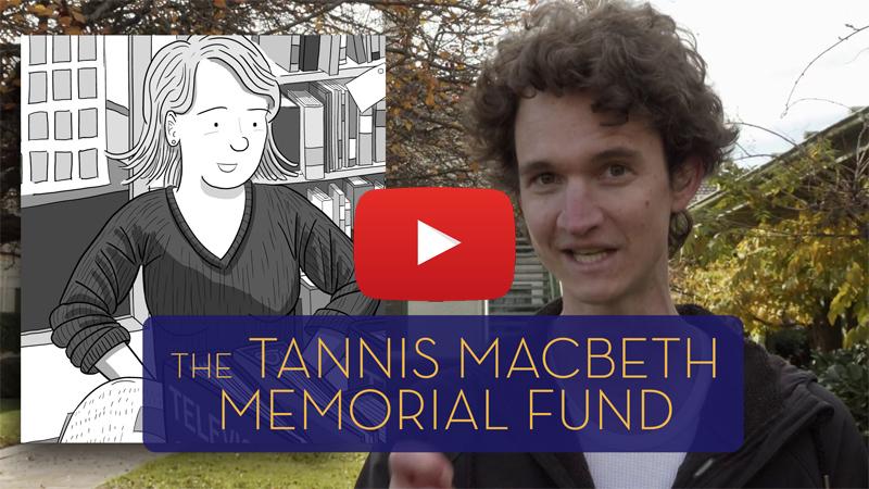 Screenshot of Stuart McMillen describing the Tannis MacBeth Memorial Fund in a YouTube video