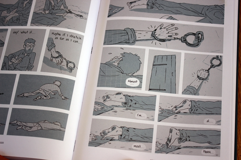 Pages from 'Hostage' by Guy Delisle - p321 - reaching for the garlic