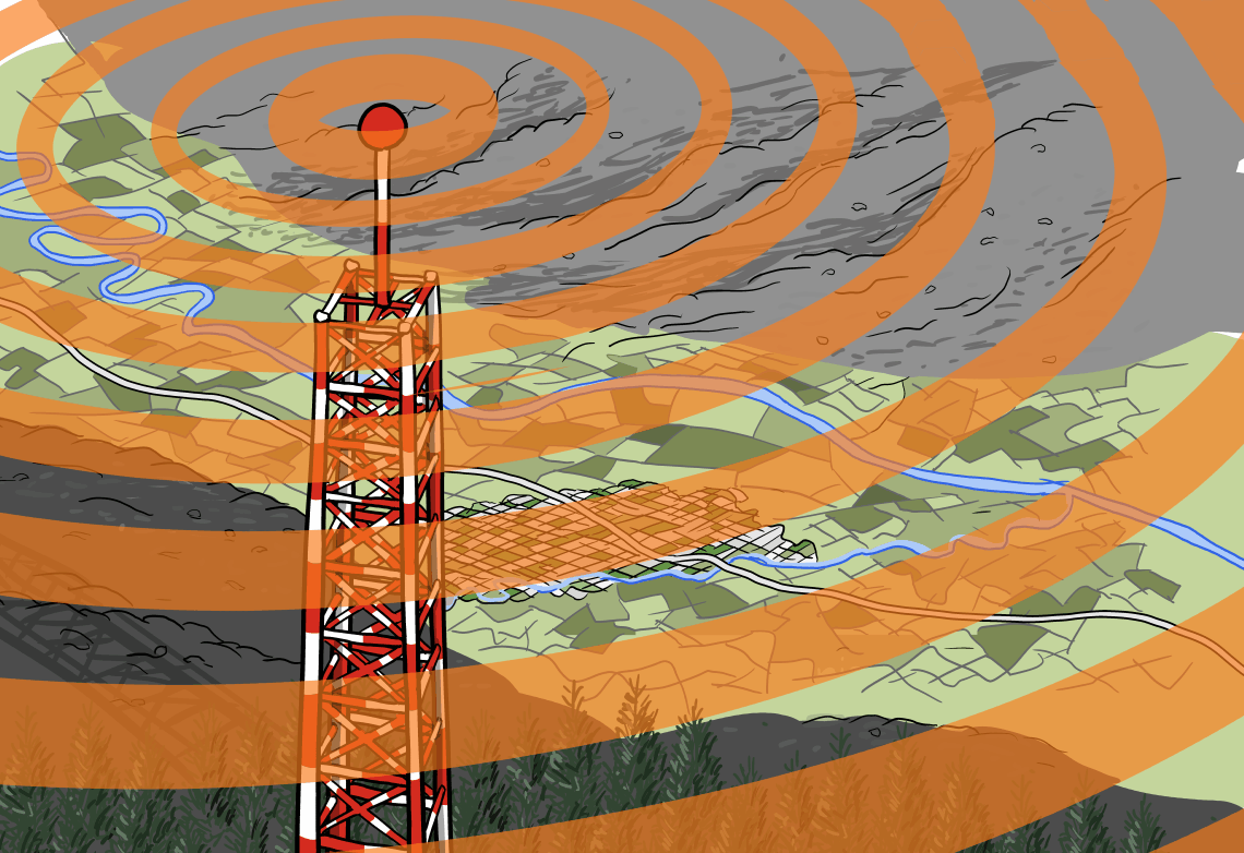 High angle view of a cartoon radio tower broadcasting signals to nearby towns next to a mountain