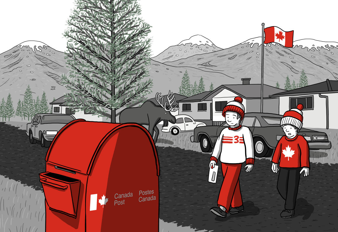 Cartoon drawing of boys in a small Canadian town, walking across the street near a mailbox Canada Post