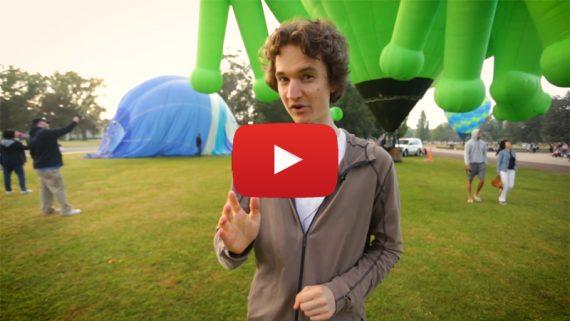 Stuart McMillen talking at balloon festival